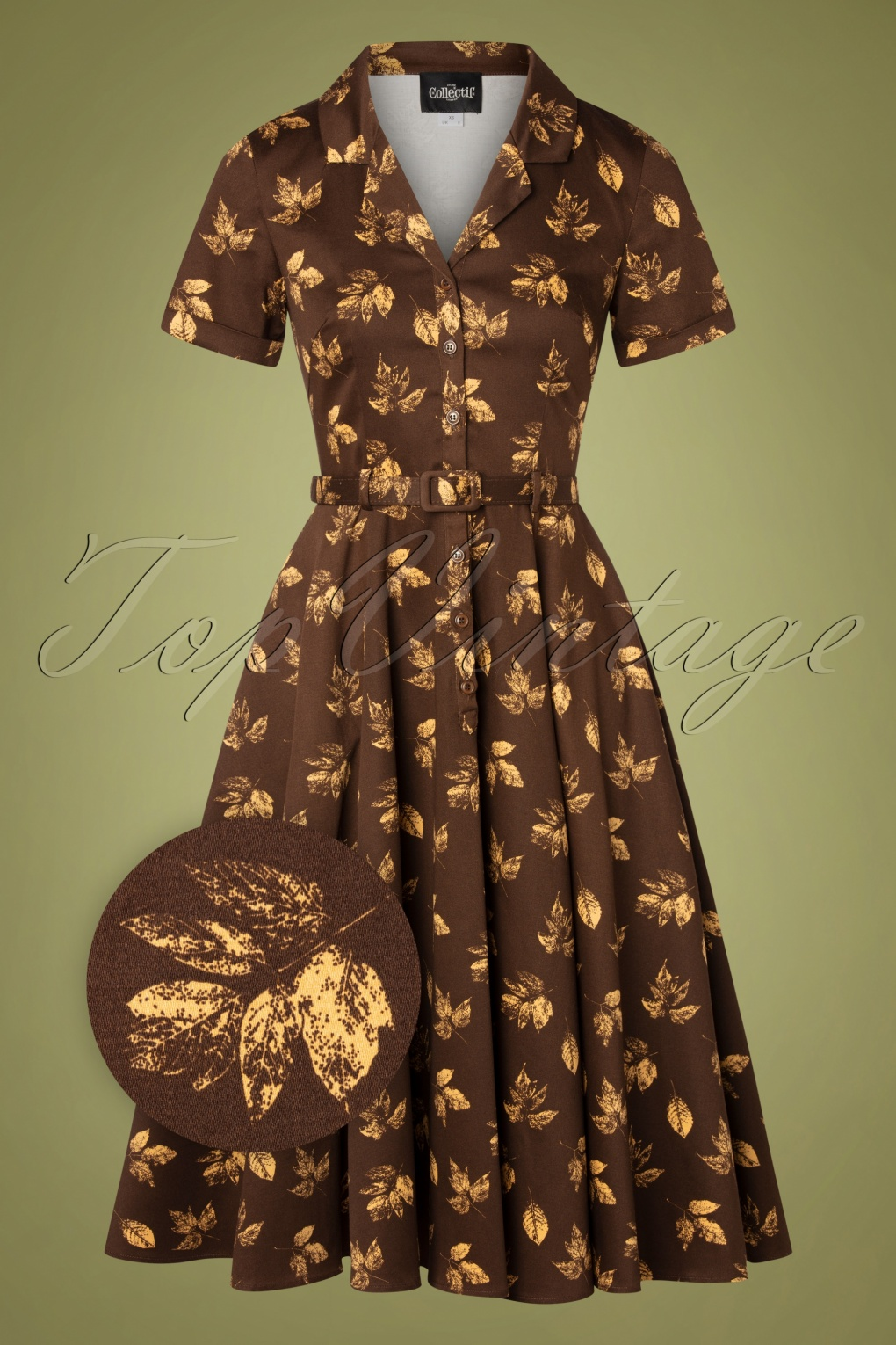 1950s Style Clothing & Fashion 50s Caterina Fall Leaves Swing Dress in Brown £72.56 AT vintagedancer.com