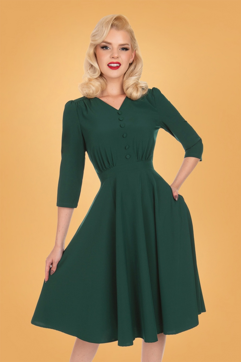 Vintage Style Dresses | Vintage Inspired Dresses 50s Verde Swing Dress in Dark Green £53.29 AT vintagedancer.com