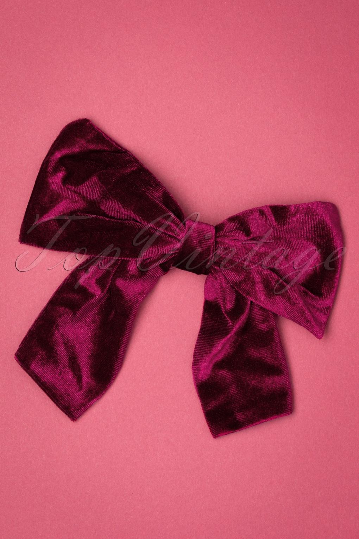 1940s Hairstyles- History of Women's Hairstyles 50s Lisette Velvet Bow Clip in Burgundy £9.00 AT vintagedancer.com