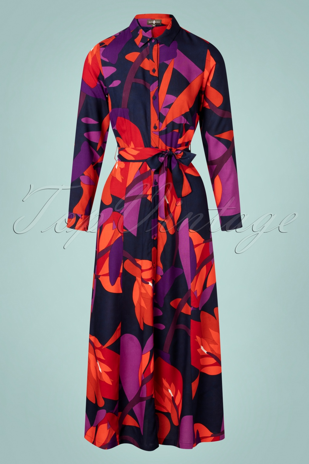 Vintage Style Dresses | Vintage Inspired Dresses 70s Naran Maxi Dress in Navy and Purple £87.07 AT vintagedancer.com