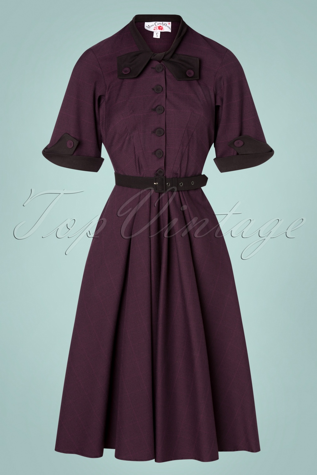Vintage Shirtwaist Dress History TopVintage exclusive  50s Lea Dora Swing Dress in Purple £115.71 AT vintagedancer.com