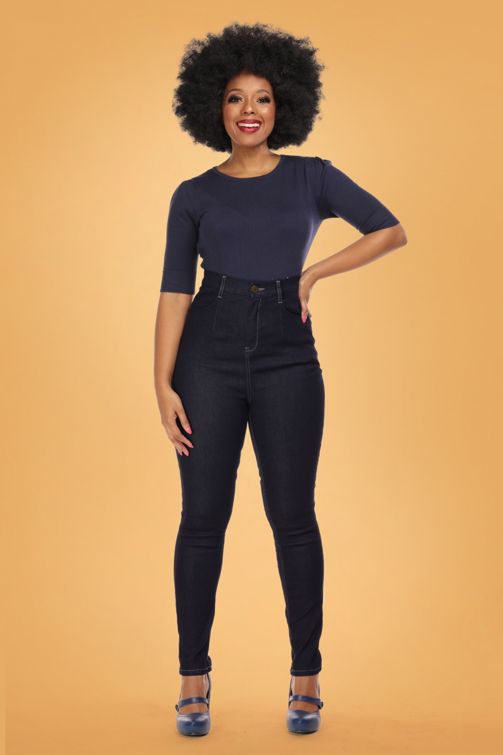1950s Style Clothing & Fashion 50s Lulu Skinny Jeans in Navy £49.87 AT vintagedancer.com