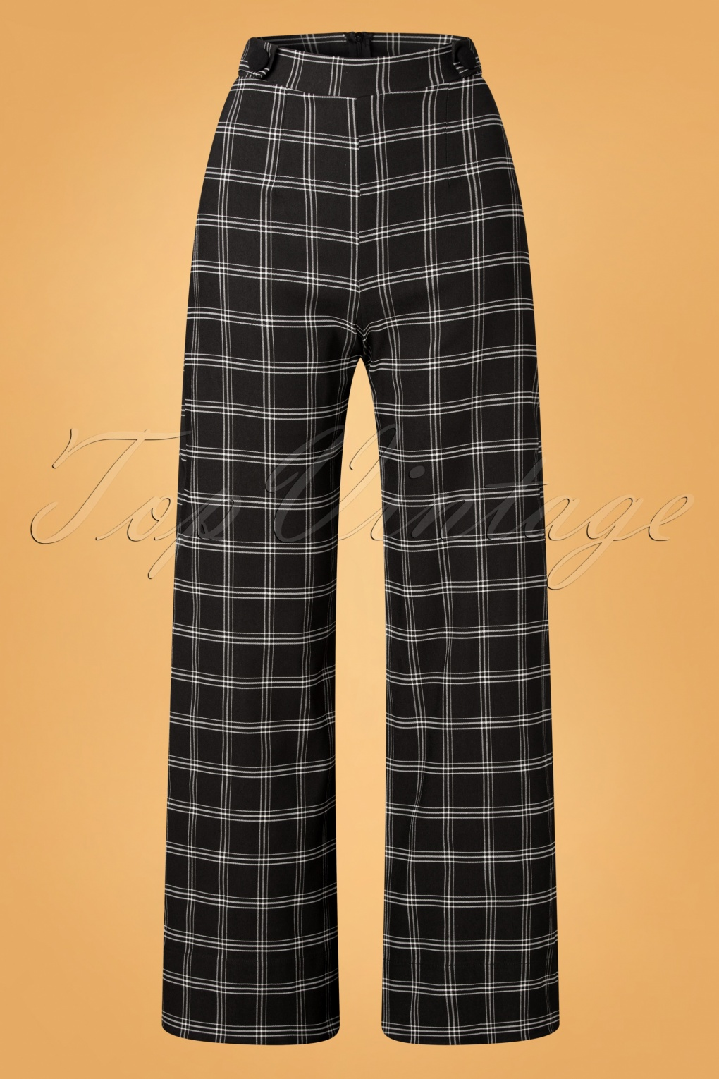 1940s Swing Pants & Sailor Trousers- Wide Leg, High Waist 40s Viola Wide Check Trousers in Black and White £48.84 AT vintagedancer.com
