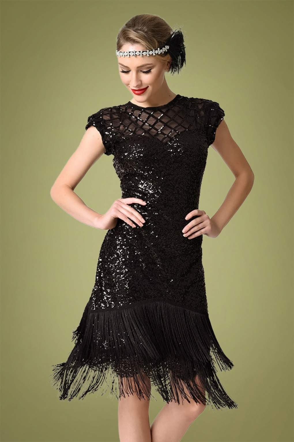 1920s Style Dresses, 20s Dresses 20s Del Mar Flapper Dress in Black £127.01 AT vintagedancer.com
