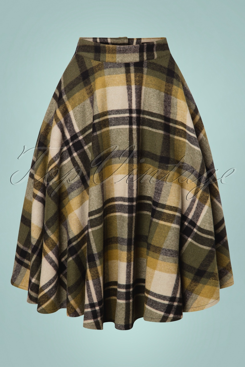 1940s Teenage Fashion: Girls 40s Sophie Wool Check Skirt in Khaki £63.48 AT vintagedancer.com