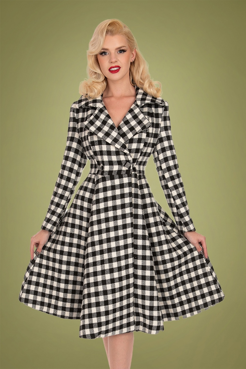1950s Jackets, Coats, Bolero | Swing, Pin Up, Rockabilly 50s Heather Swing Coat in Black and Ivory £109.82 AT vintagedancer.com