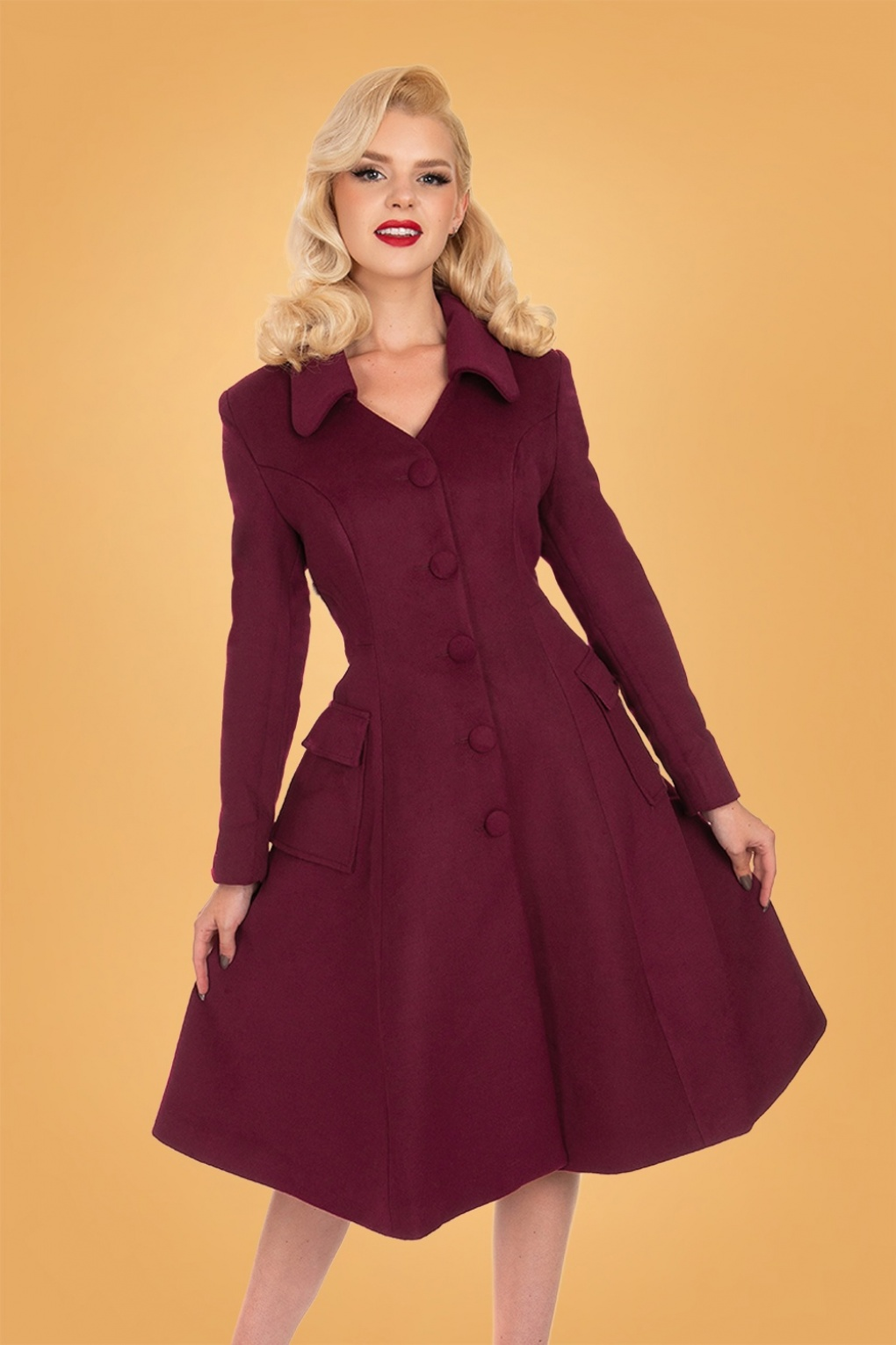 1950s Jackets, Coats, Bolero | Swing, Pin Up, Rockabilly 50s Rosa Swing Coat in Burgundy £75.72 AT vintagedancer.com