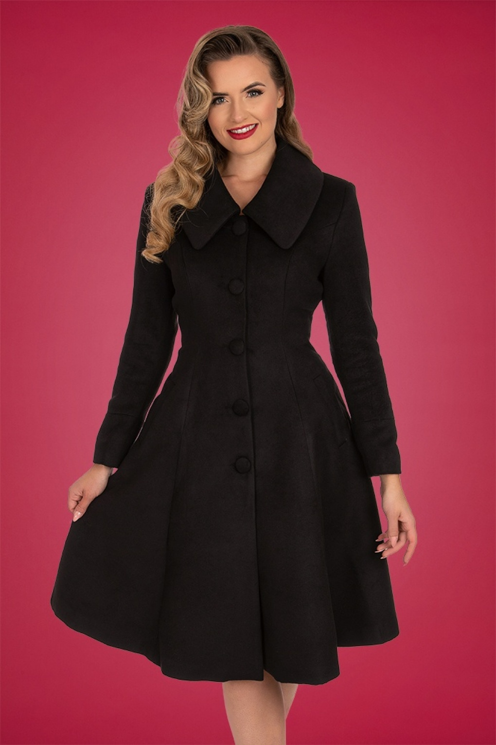 1950s Jackets, Coats, Bolero | Swing, Pin Up, Rockabilly 50s Naomi Swing Coat in Black £75.72 AT vintagedancer.com