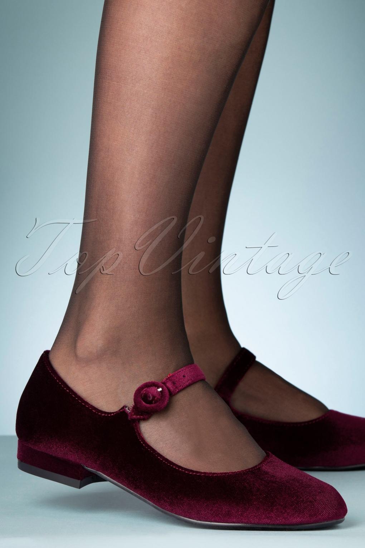 60s Shoes, Go Go Boots 60s Alice Velvet Shoes in Burgundy £62.18 AT vintagedancer.com