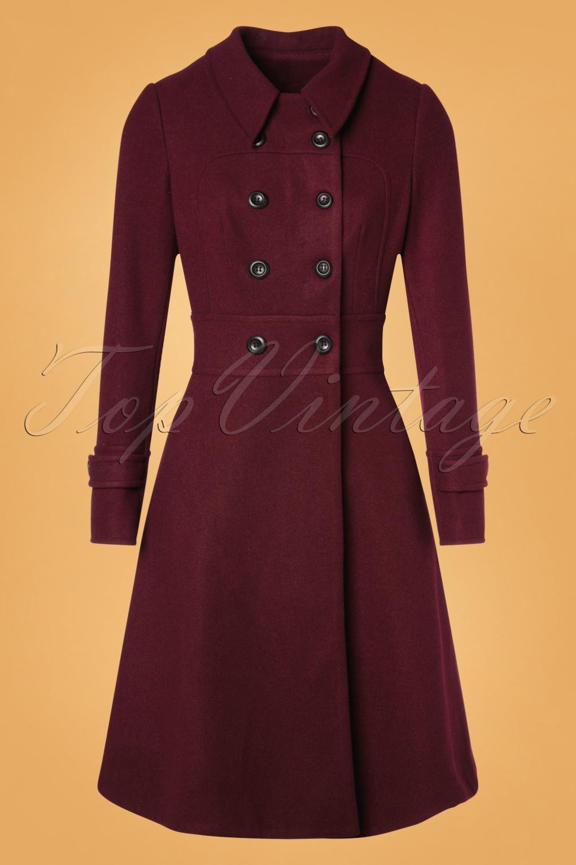Vintage Coats & Jackets | Retro Coats and Jackets 40s Grace Coat in Burgundy £119.95 AT vintagedancer.com