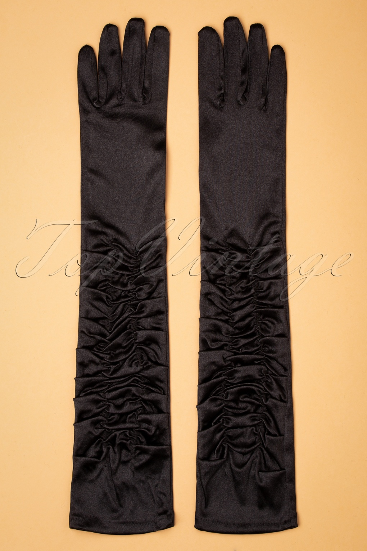 1940s Accessories: Belts, Gloves, Head Scarf 50s Ellie Satin Elbow Gloves in Black £13.52 AT vintagedancer.com