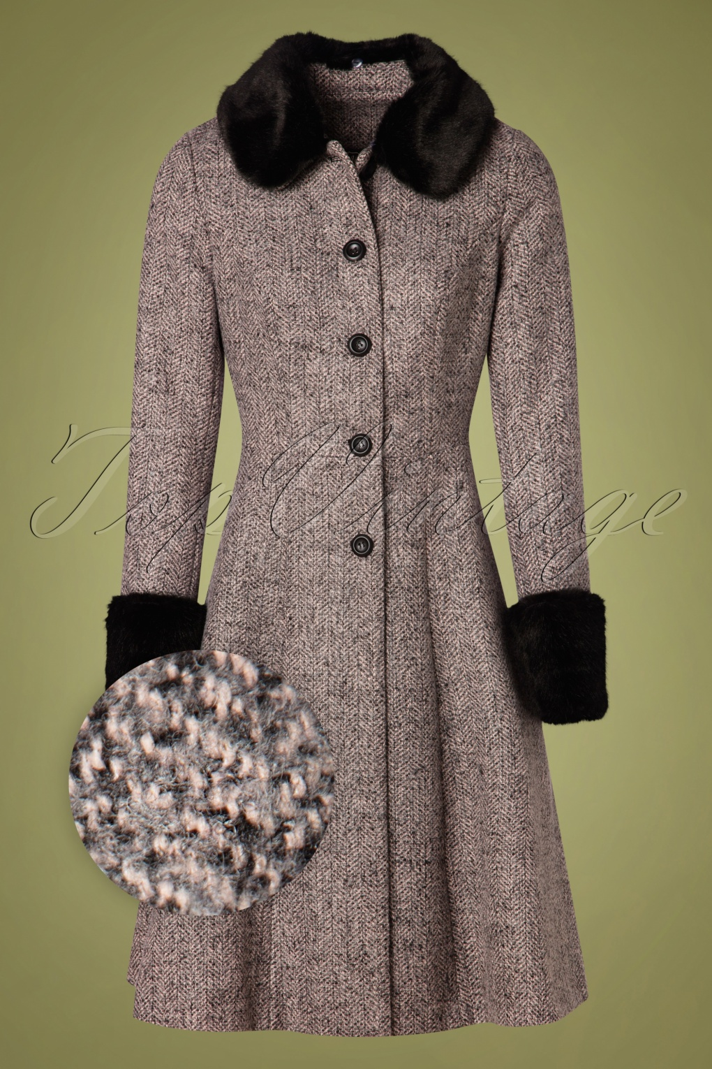 1950s Jackets, Coats, Bolero | Swing, Pin Up, Rockabilly 50s Louisa May Coat in Stone £113.60 AT vintagedancer.com