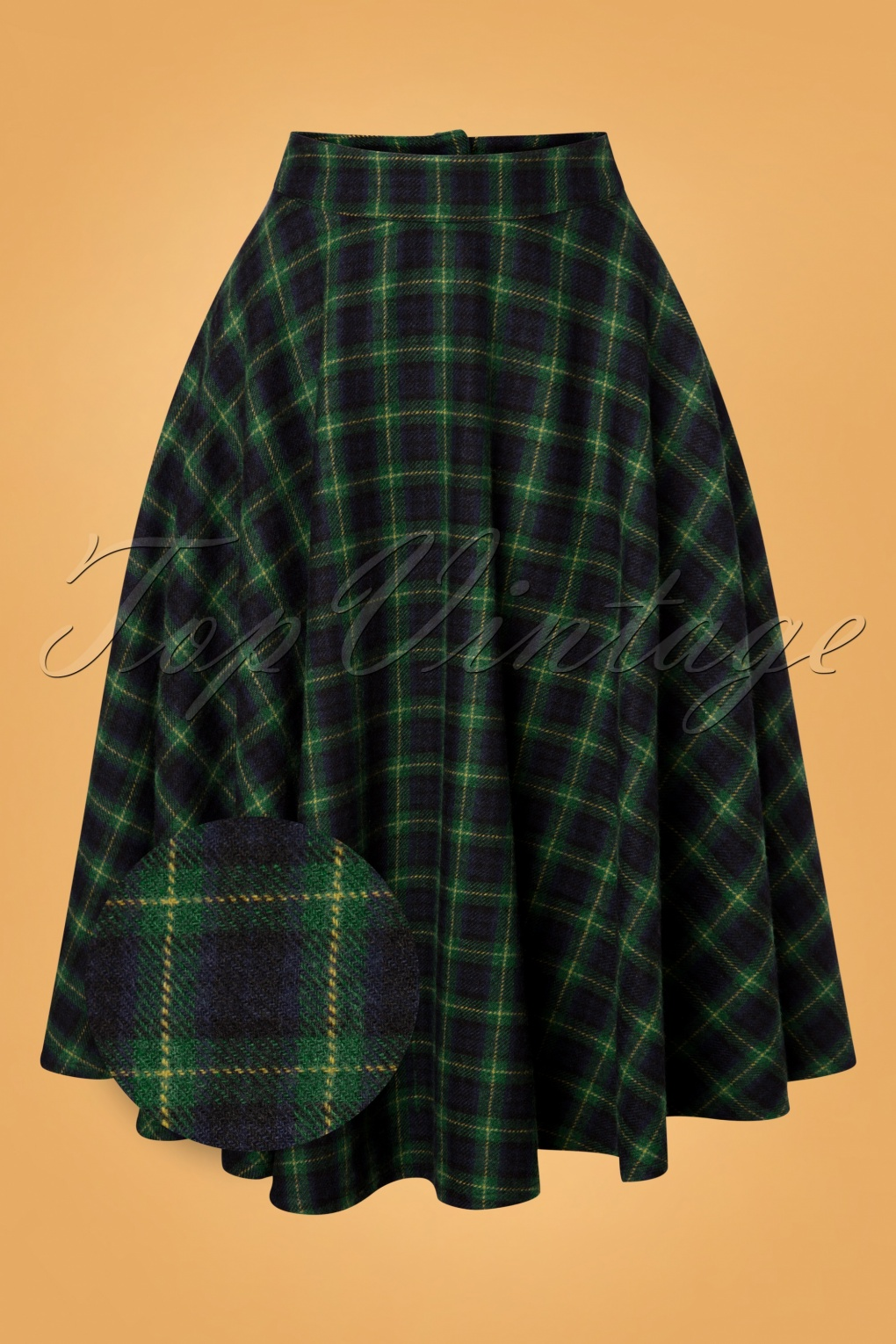 1940s Style Skirts- Vintage High Waisted Skirts 40s Sophie Wool Check Skirt in Forest Green £63.43 AT vintagedancer.com