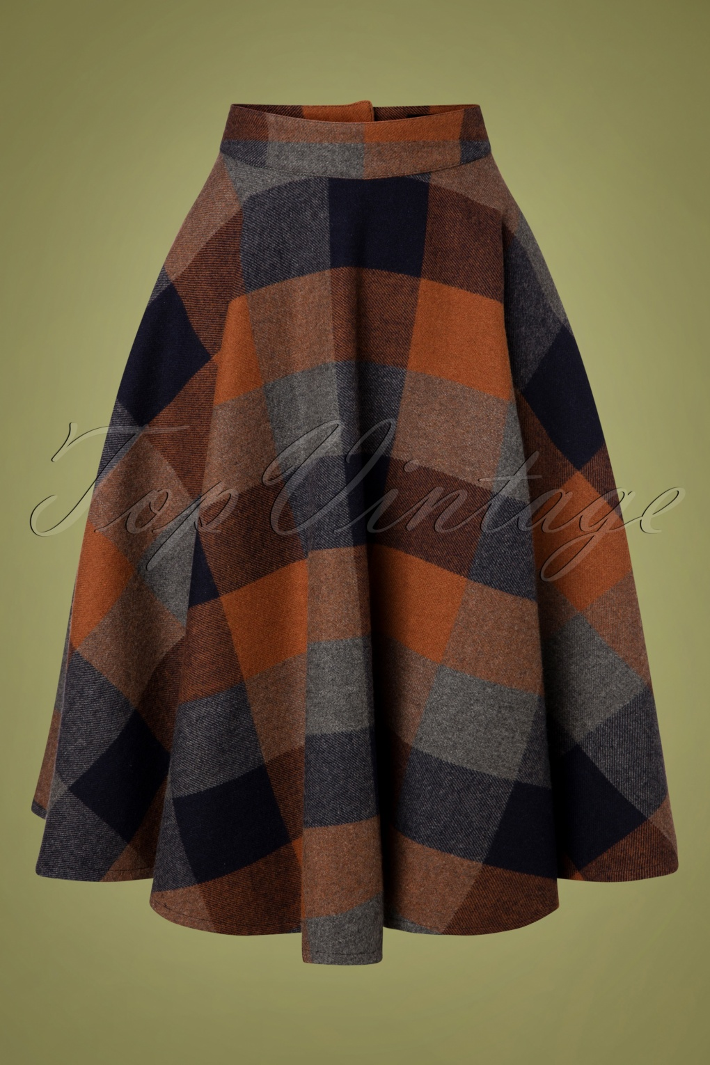 1940s Teenage Fashion: Girls 40s Sophie Wool Check Skirt in Rust £63.04 AT vintagedancer.com
