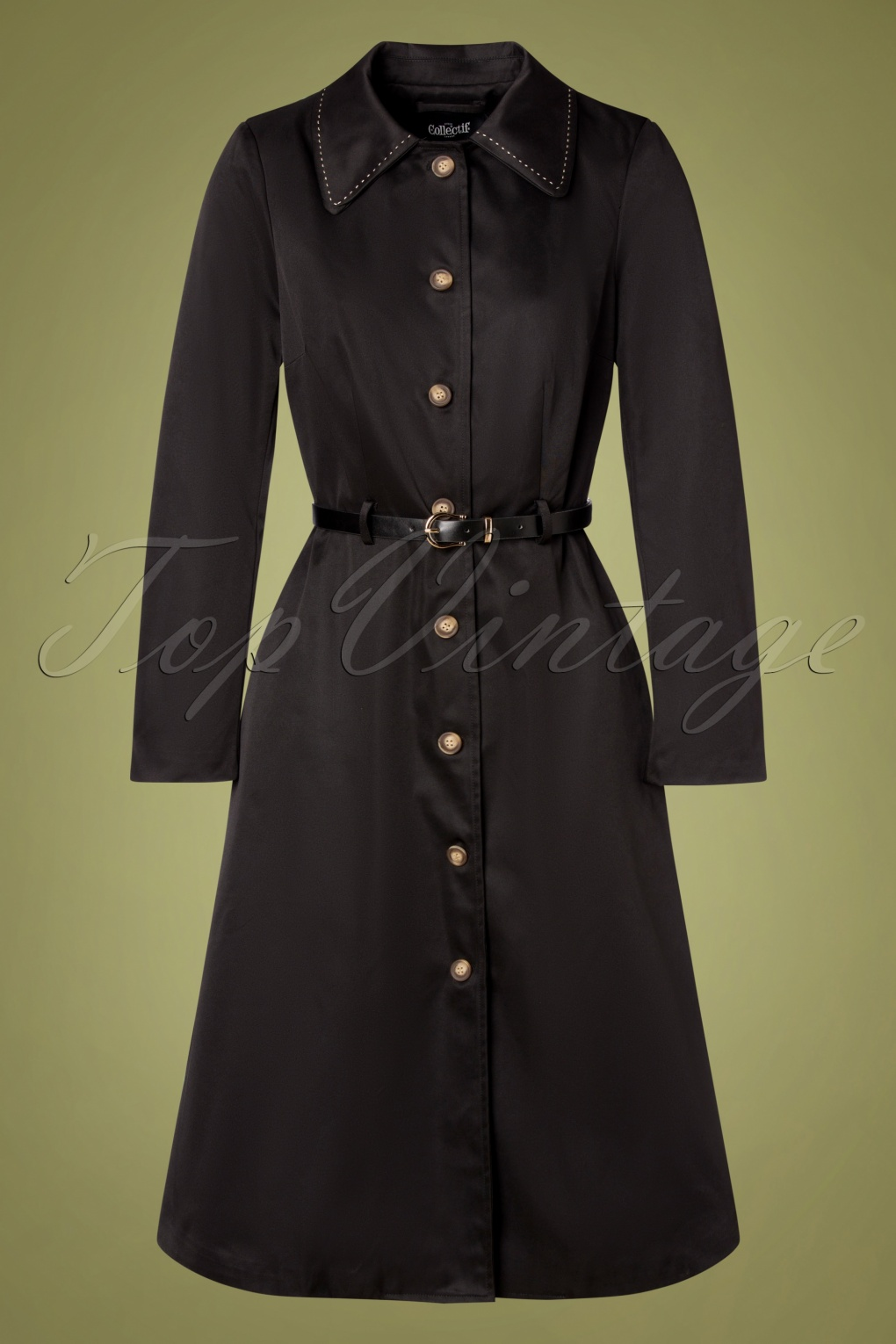 Shop Queen's Gambit Outfits – 60s Clothes 60s Kadence Trench Coat in Black £108.76 AT vintagedancer.com