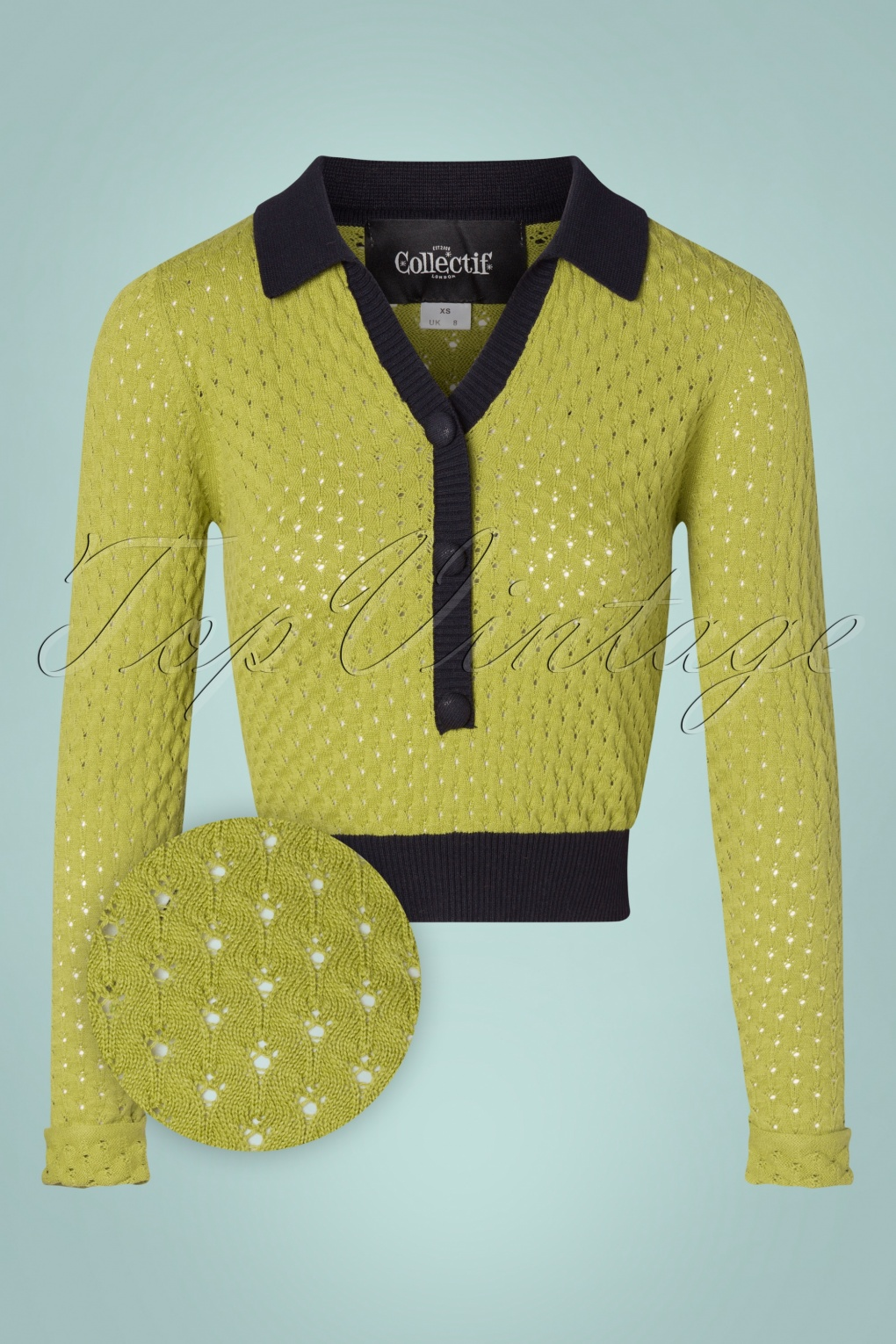 Vintage Sweaters, Retro Sweaters & Cardigan 70s Lorelei Knitted Top in Green £37.84 AT vintagedancer.com