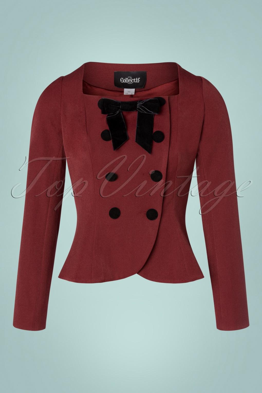 1940s Dresses | 40s Dress, Swing Dress, Tea Dresses 40s Agatha Jacket in Burgundy £80.22 AT vintagedancer.com