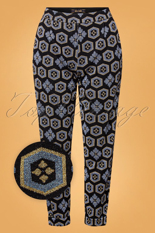 60s – 70s Pants, Jeans, Hippie, Bell Bottoms, Jumpsuits 70s Roisin Chen Pants in Black £79.95 AT vintagedancer.com