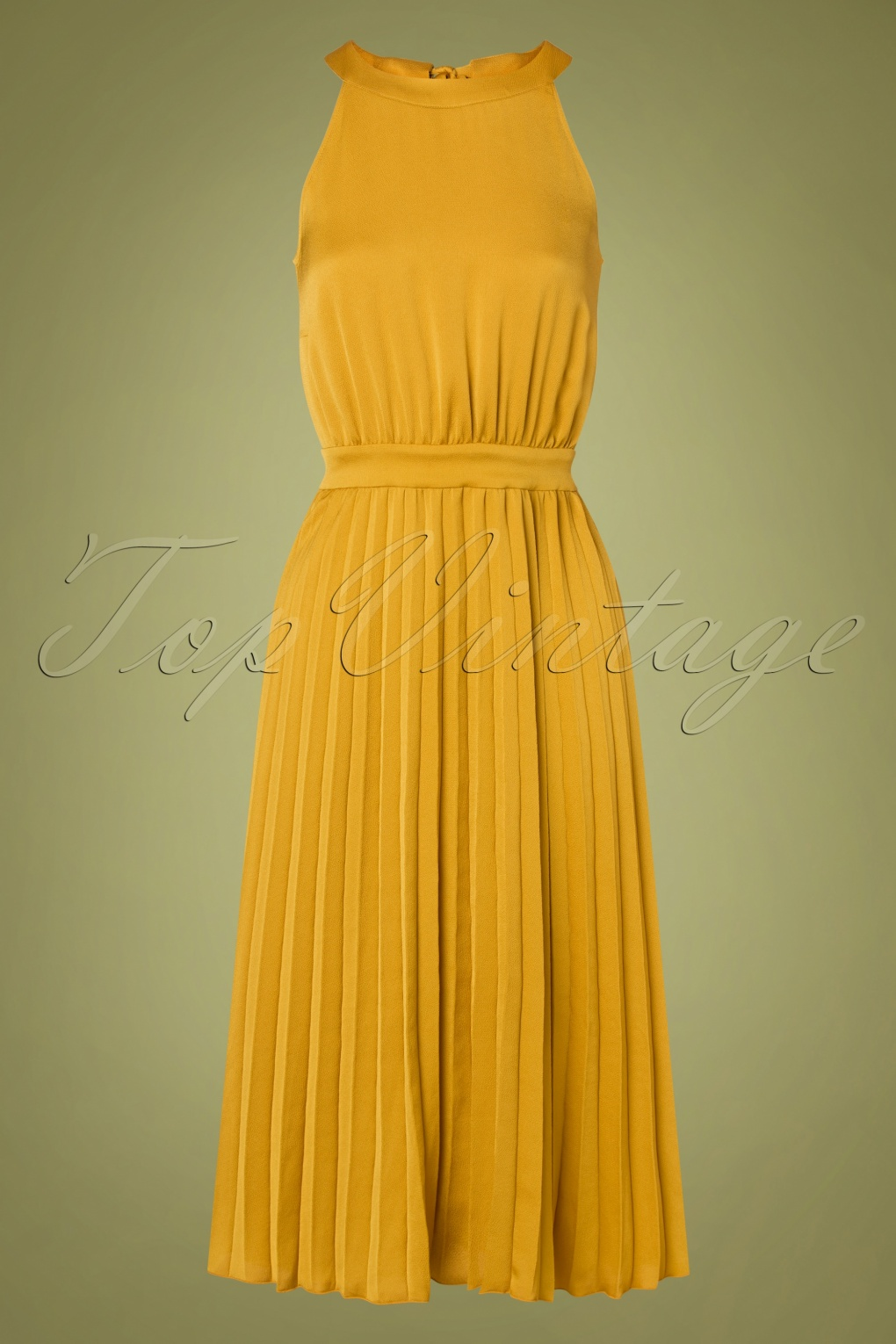 1960s Cocktail, Party, Prom, Evening Dresses 60s Danna Ginty Plisse Dress in Curry Yellow £75.72 AT vintagedancer.com