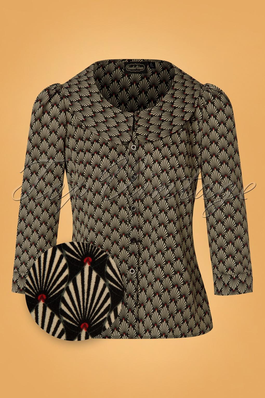 60s Shirts, T-shirts, Blouses, Hippie Shirts 60s Bettie Art Deco Blouse in Black £40.27 AT vintagedancer.com
