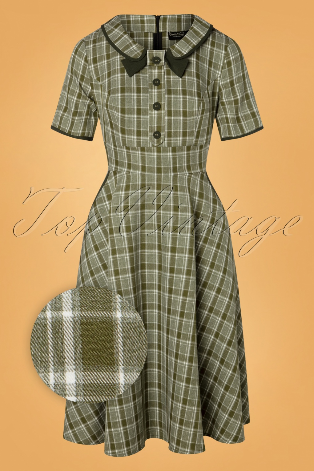 1940s Plus Size Fashion: Style Advice from 1940s to Today 40s Kaylee Tartan Swing Dress in Khaki £62.18 AT vintagedancer.com