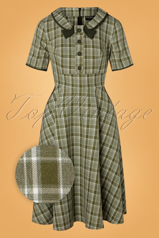 Vintage Tea Dresses, Floral Tea Dresses, Tea Length Dresses 40s Kaylee Tartan Swing Dress in Khaki £53.00 AT vintagedancer.com