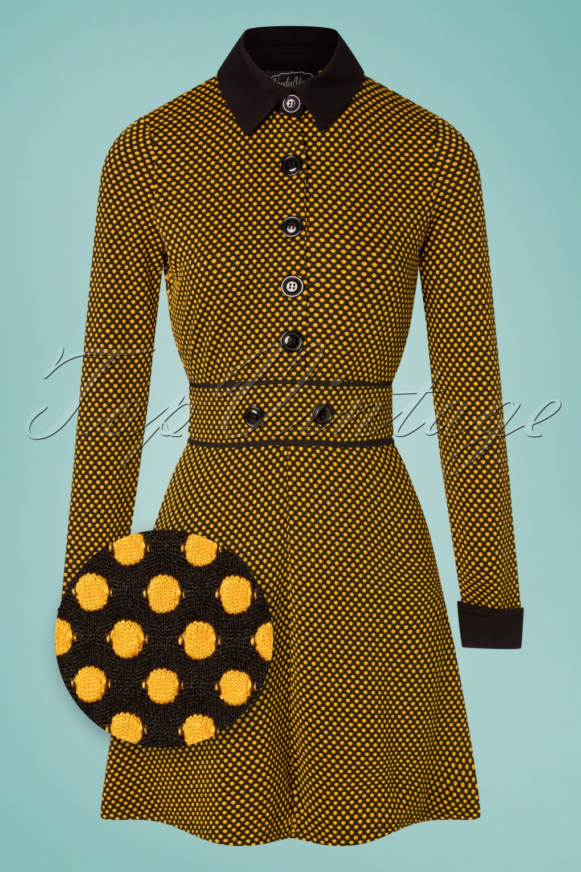 Vintage Coats & Jackets | Retro Coats and Jackets 60s Makayla Dot Dress in Black and Mustard £66.62 AT vintagedancer.com