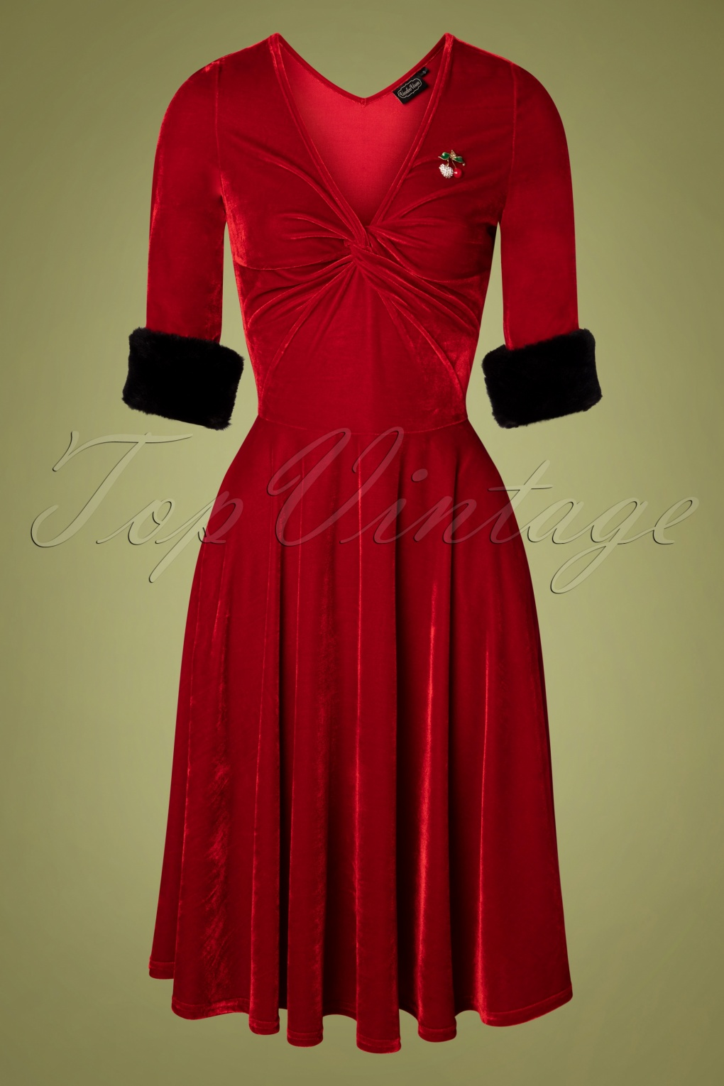 1950s History of Prom, Party, and Formal Dresses 50s Roxanne Velvet Swing Dress in Red £62.26 AT vintagedancer.com