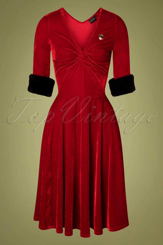 Vintage Red Dresses | Valentines Day Dresses, Outfits, Lingerie 50s Roxanne Velvet Swing Dress in Red £62.26 AT vintagedancer.com