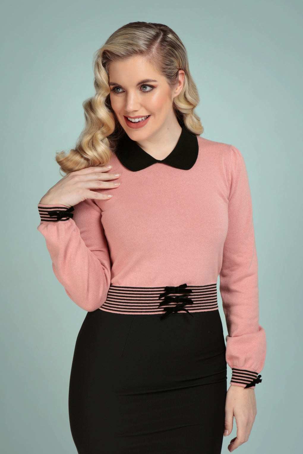 1950s Sweaters, 50s Cardigans, 50s Jumpers 50s Maeve Jumper in Dusty Pink £51.18 AT vintagedancer.com