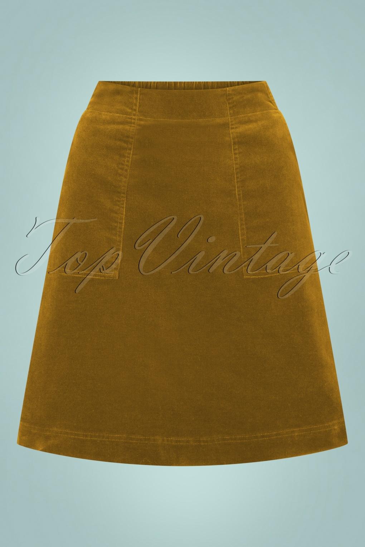 Vintage Skirts | Retro, Pencil, Swing, Boho 60s Mays Rocket Skirt in Marshland Yellow £71.07 AT vintagedancer.com