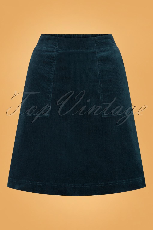 Vintage Skirts | Retro, Pencil, Swing, Boho 60s Mays Rocket Skirt in Dark Storm Blue £71.07 AT vintagedancer.com