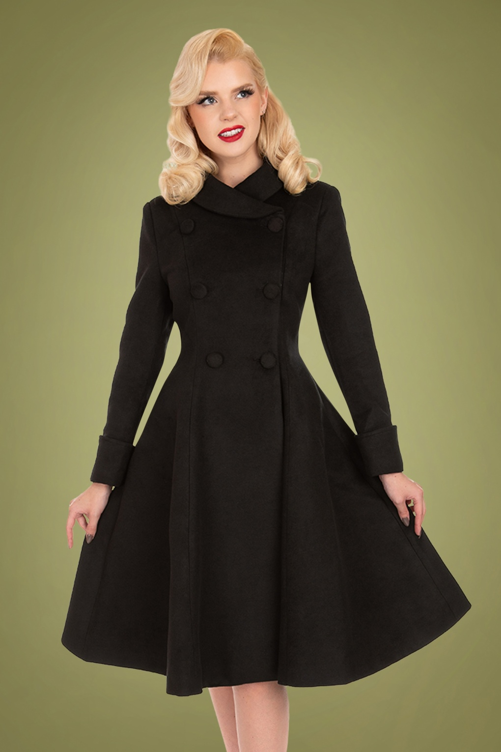 1950s Jackets, Coats, Bolero | Swing, Pin Up, Rockabilly 50s Grace Swing Coat in Black £80.07 AT vintagedancer.com