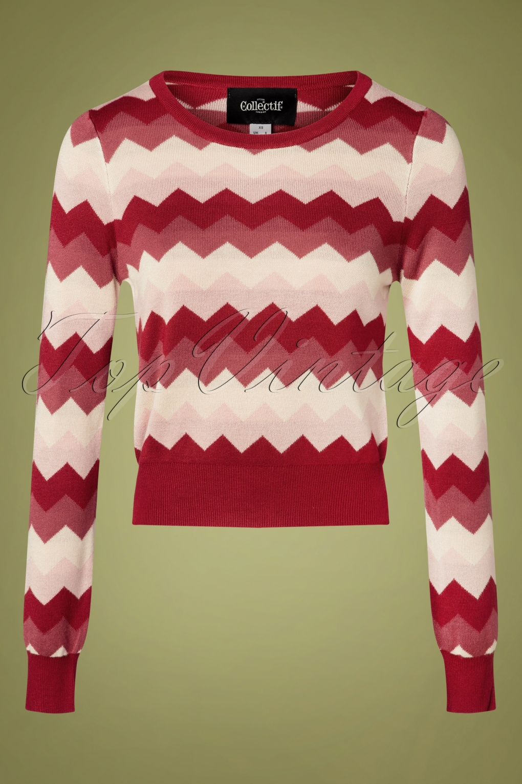 Vintage Sweaters, Retro Sweaters & Cardigan 60s Machi Zig Zag Knitted Top in Red £37.84 AT vintagedancer.com