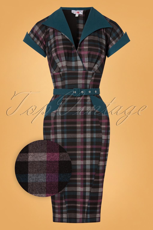 Wiggle Dresses | Pencil Dresses 40s, 50s, 60s 50s Corrine Kat Wiggle Dress in Petrol £107.46 AT vintagedancer.com
