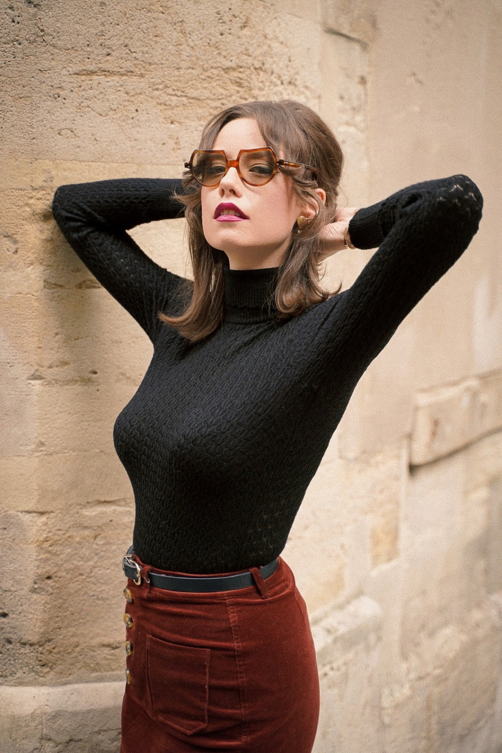 60s Shirts, T-shirts, Blouses, Hippie Shirts 60s Rollneck Solo Top in Black £71.07 AT vintagedancer.com