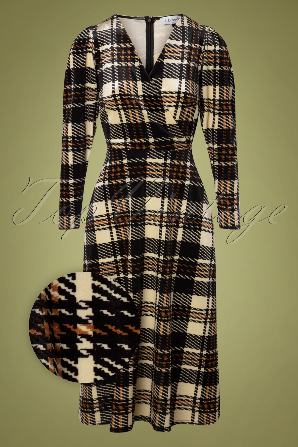 Vintage Style Dresses | Vintage Inspired Dresses 60s Glory Velvet Wrap Dress in Beige and Black £88.84 AT vintagedancer.com