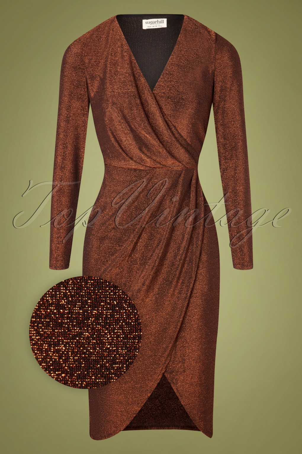 1960s Cocktail, Party, Prom, Evening Dresses 60s Duana Sparkle Wrap Dress in Bronze £71.46 AT vintagedancer.com