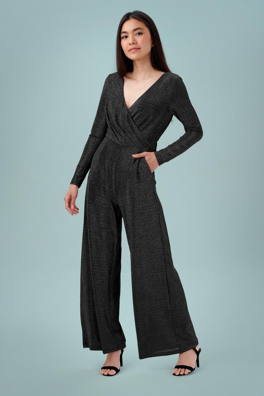 70s Jumpsuit | Disco Jumpsuits, Sequin Rompers 70s Consuela Sparkle Jumpsuit in Black and Silver £64.36 AT vintagedancer.com
