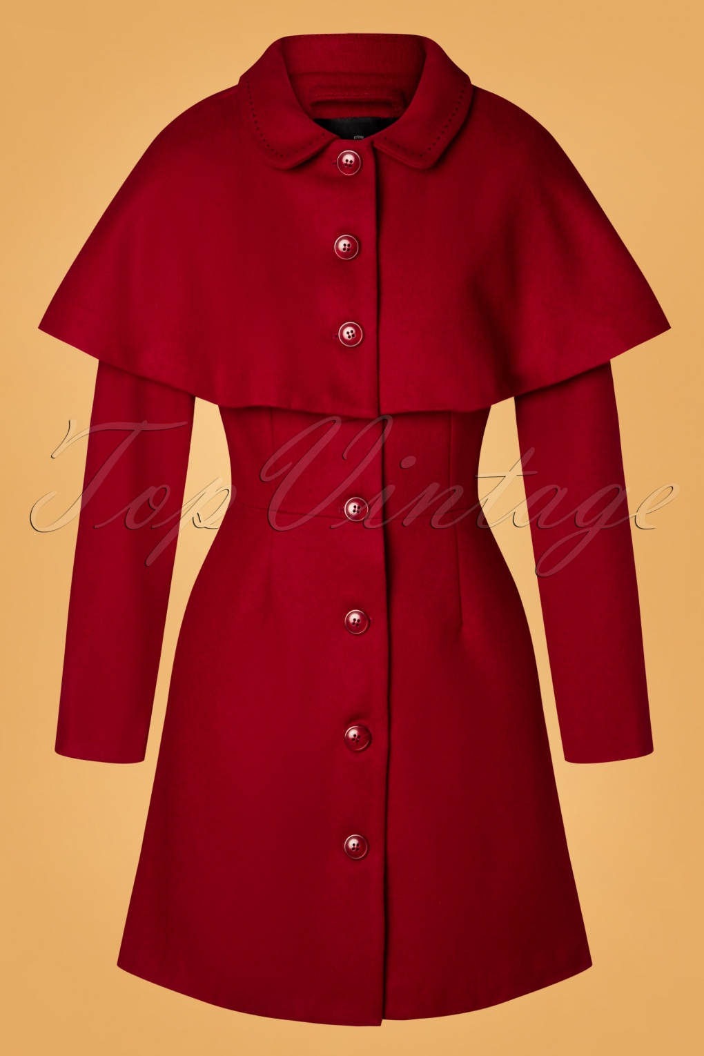 Shop Queen's Gambit Outfits – 60s Clothes 60s Haddie Cape Coat in Red £149.20 AT vintagedancer.com