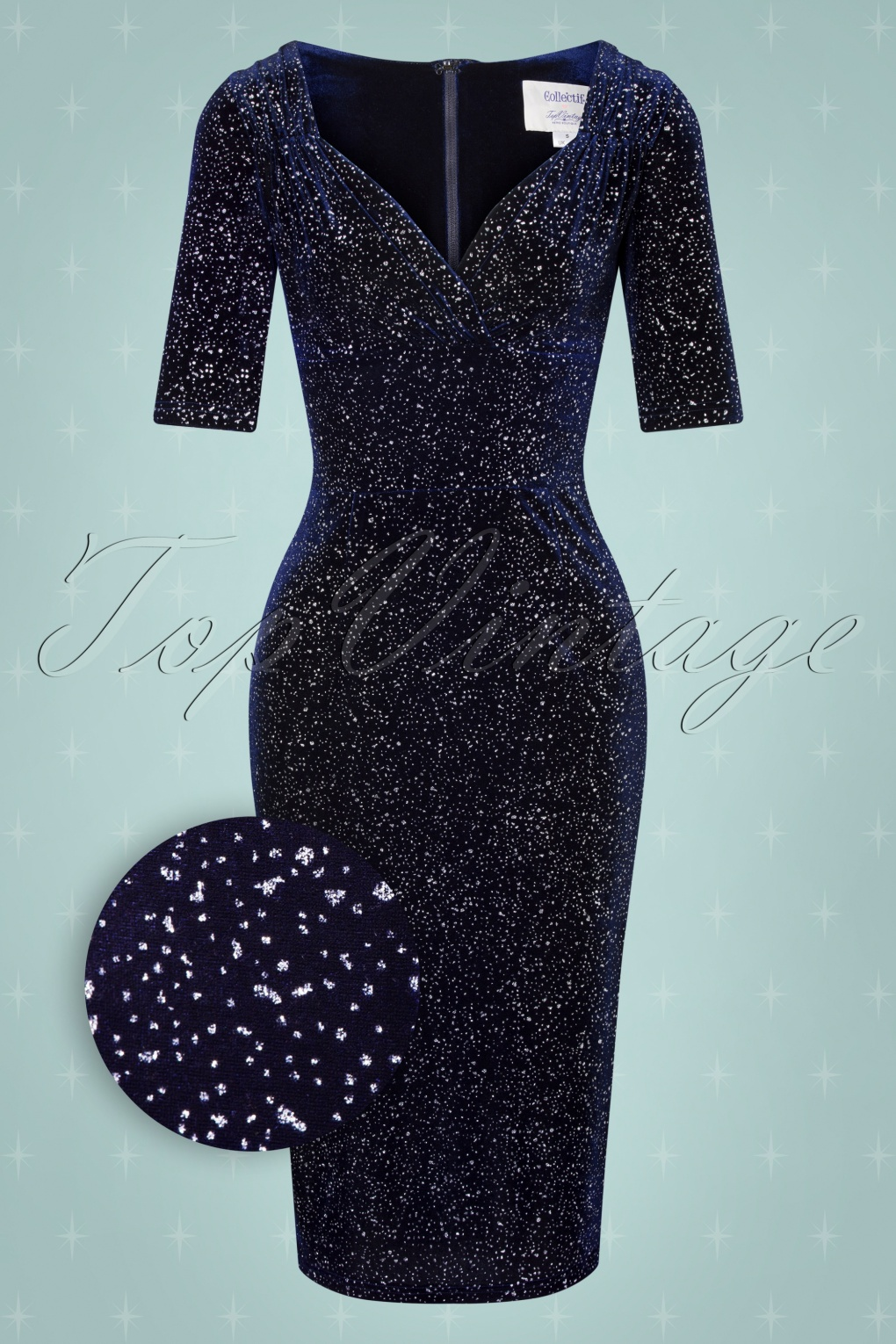 Wiggle Dresses | Pencil Dresses 40s, 50s, 60s 50s Trixie Glitter Drops Pencil Dress in Navy £36.73 AT vintagedancer.com
