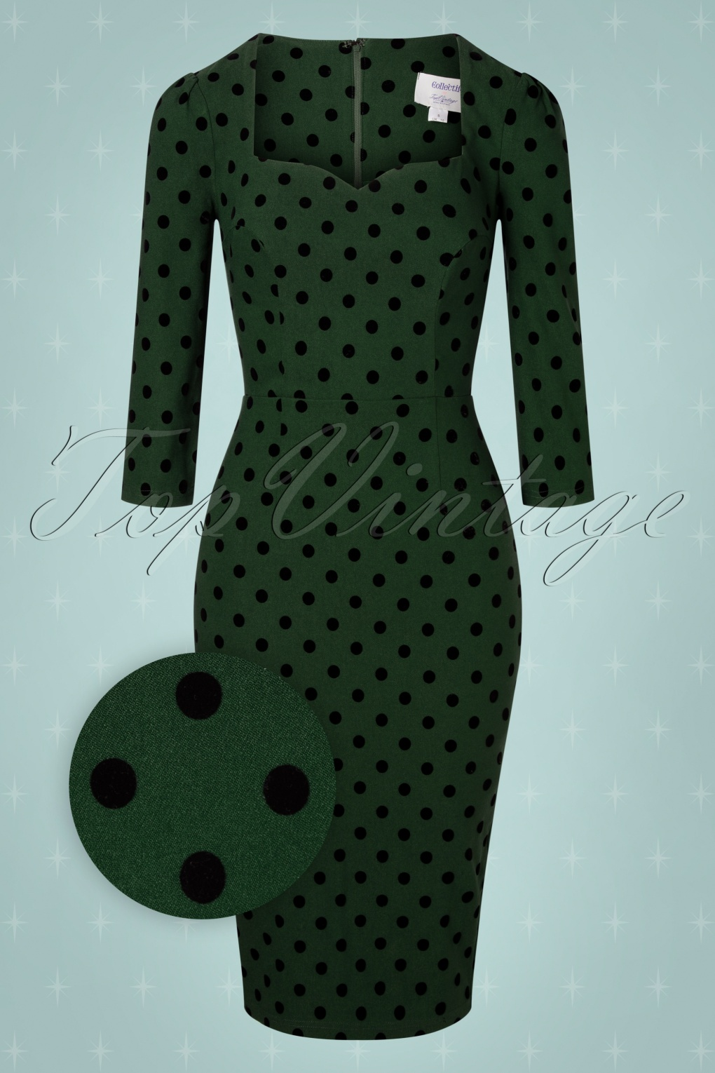 Vintage Style Dresses | Vintage Inspired Dresses 50s Vanessa Polka Flock Pencil Dress in Green £53.71 AT vintagedancer.com