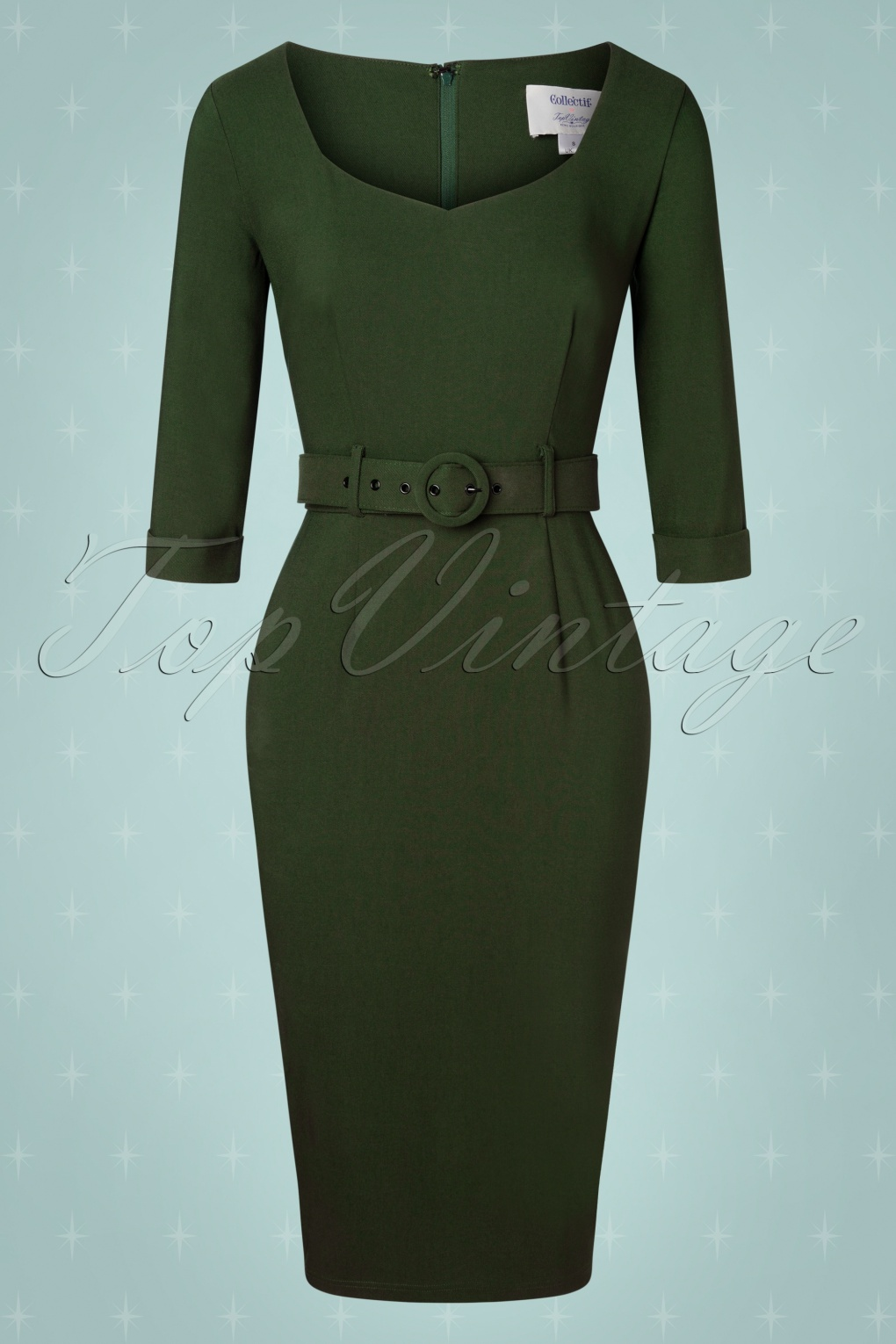 Wiggle Dresses | Pencil Dresses 40s, 50s, 60s 50s Katya Pencil Dress in Forest Green £62.18 AT vintagedancer.com