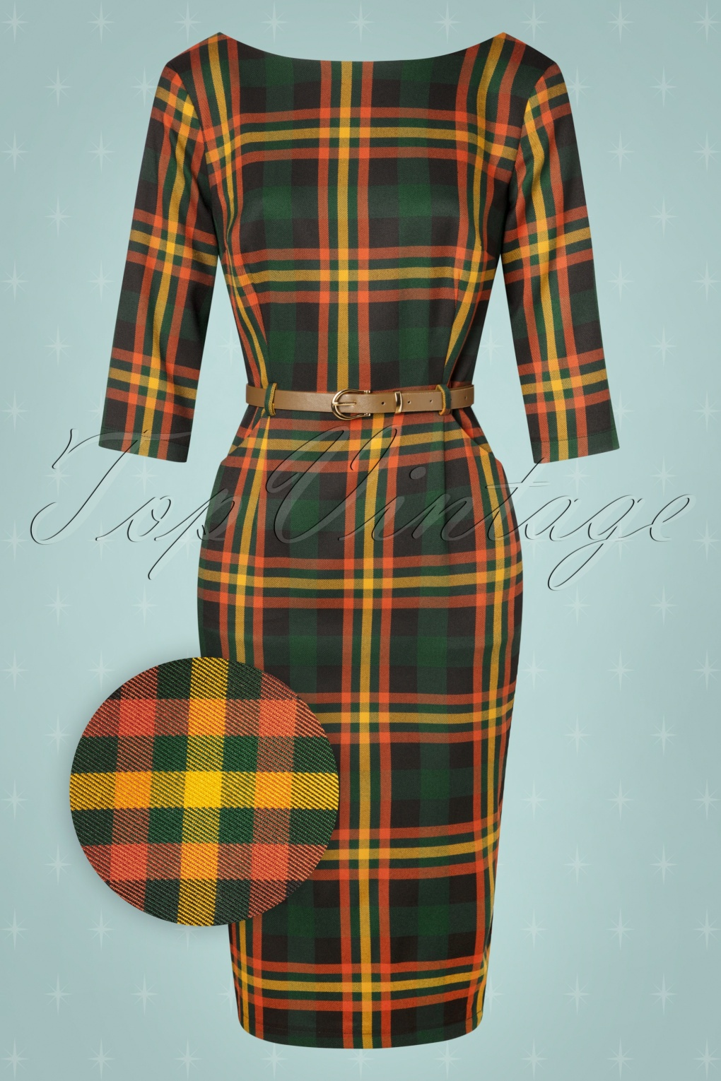 60s Mod Clothing Outfit Ideas 50s Adeline Valley Check Pencil Dress in Multi £62.66 AT vintagedancer.com