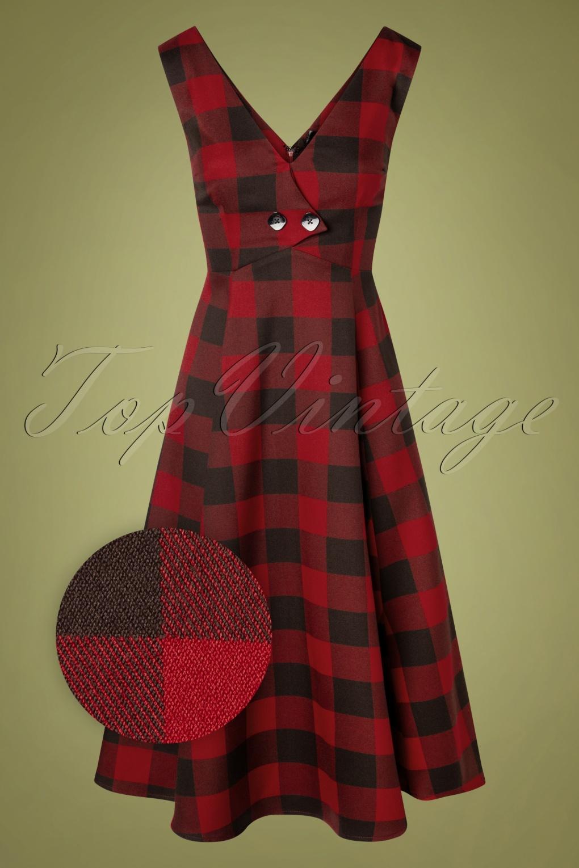 1950s Dresses, 50s Dresses | 1950s Style Dresses 50s Mellissa Ashurst Gingham Swing Dress in Red £68.15 AT vintagedancer.com