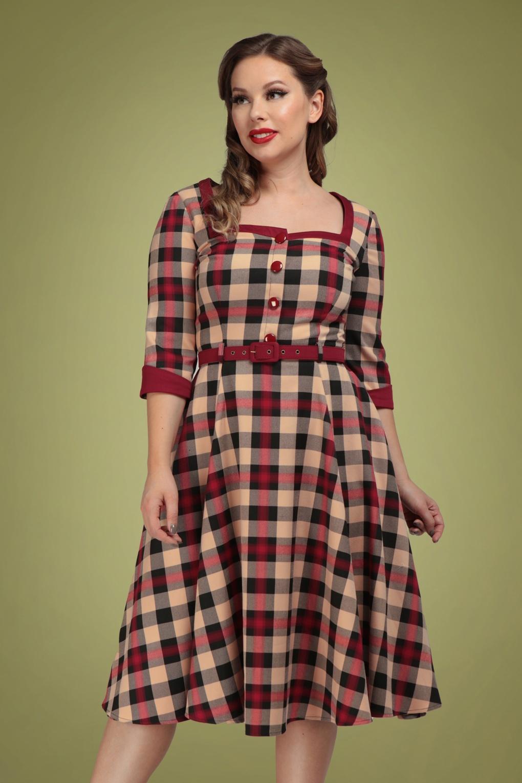 1950s Dresses, 50s Dresses | 1950s Style Dresses 50s Linette McKenzie Check Swing Dress in Multi £64.36 AT vintagedancer.com