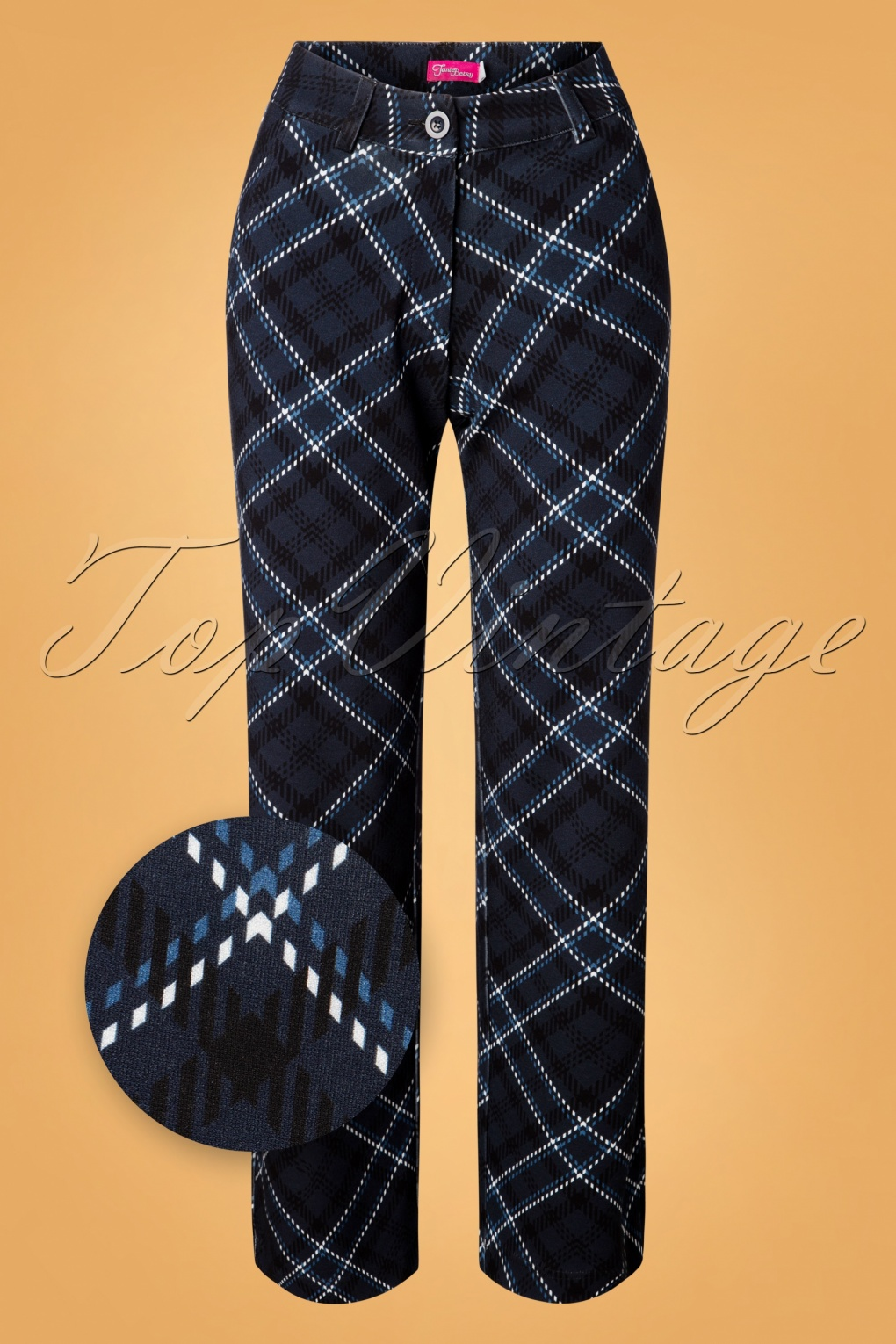 60s – 70s Pants, Jeans, Hippie, Bell Bottoms, Jumpsuits 60s Baggy Tartan Trousers in Black and Blue £79.95 AT vintagedancer.com