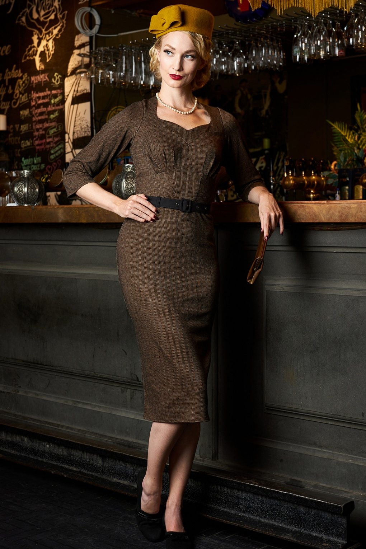 Rockabilly Dresses | Rockabilly Clothing | Viva Las Vegas 50s Iris-Dora Wiggle Dress in Wood £94.66 AT vintagedancer.com