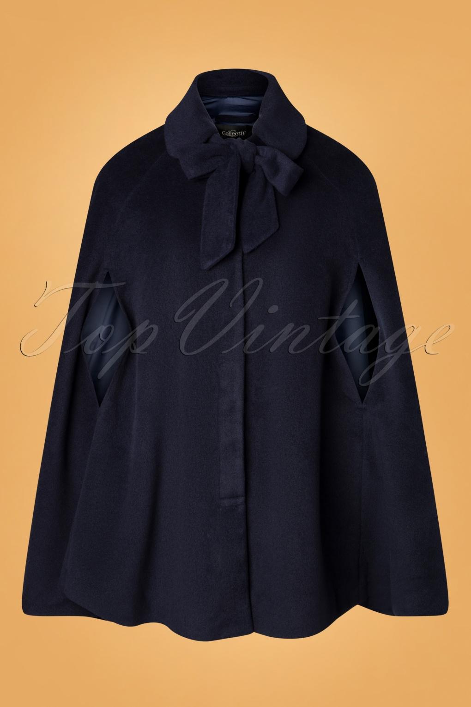 1960s Style Clothing & 60s Fashion 50s Caroline Cape Coat in Blue £115.40 AT vintagedancer.com