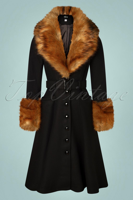Vintage Coats & Jackets | Retro Coats and Jackets 40s Jackie Princess Coat in Black £188.08 AT vintagedancer.com